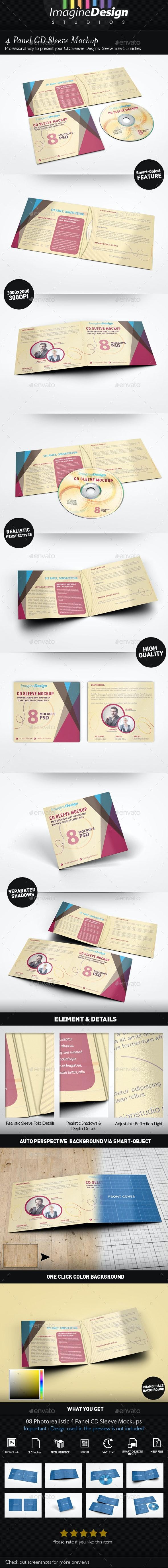 4 Panel CD Sleeve Mockup - Discs Packaging