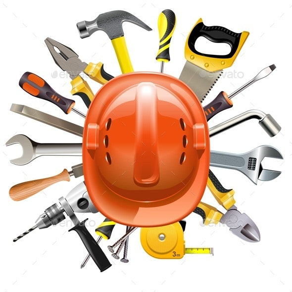 Vector Construction Helmet with Tools - Industries Business