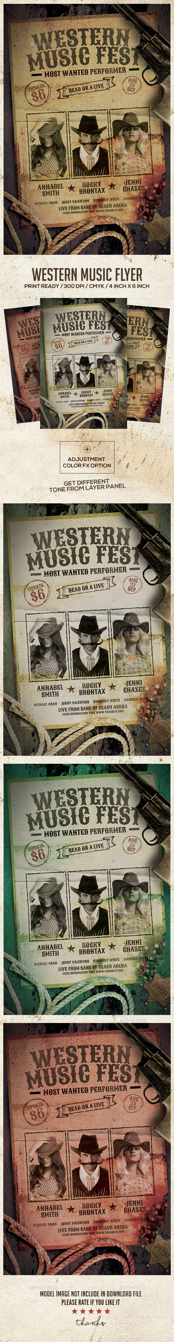 Wild West Country Music Event Flyer - Concerts Events