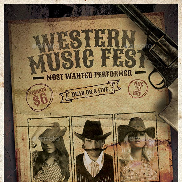 Wild West Country Music Event Flyer