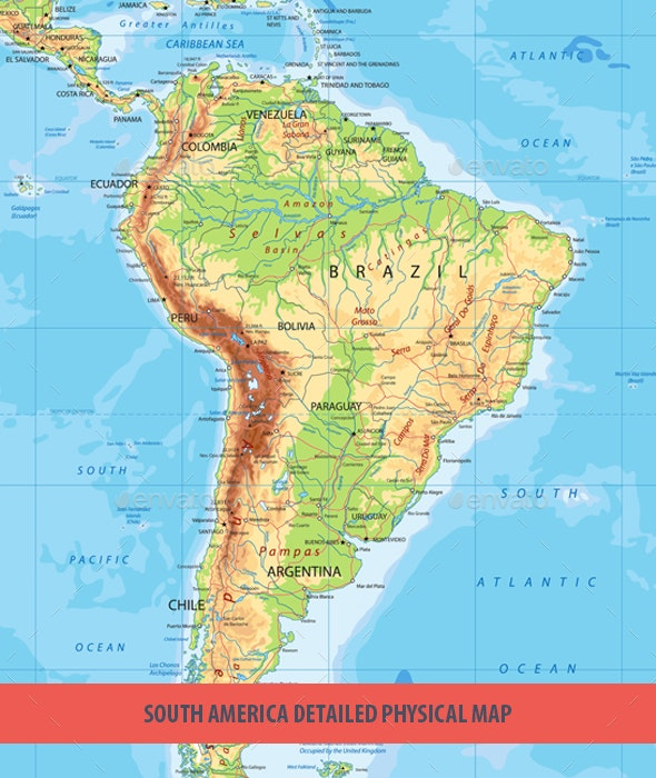 South America Detailed Physical Map by Cartarium | GraphicRiver