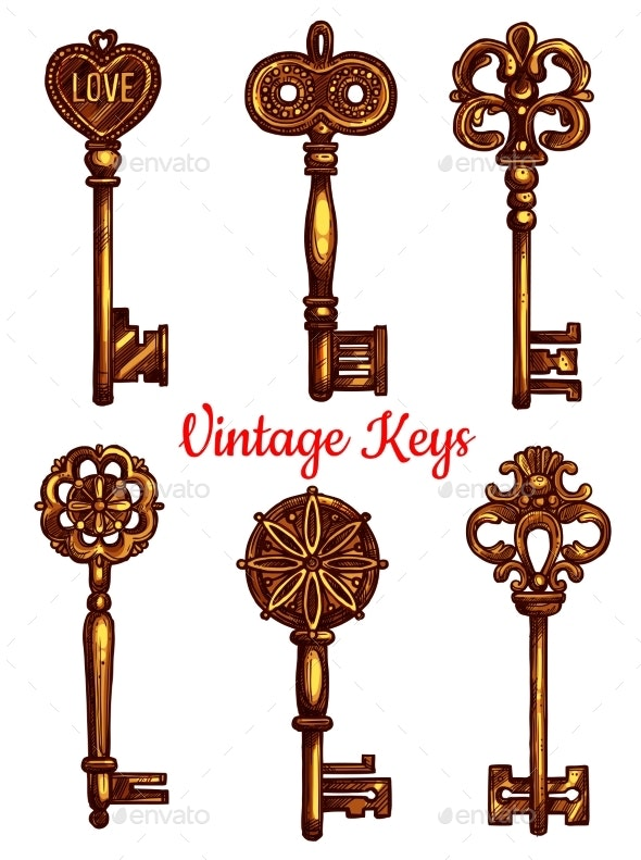 Old Vintage Metal Keys Vector Isolated Icons Set - Decorative Symbols Decorative
