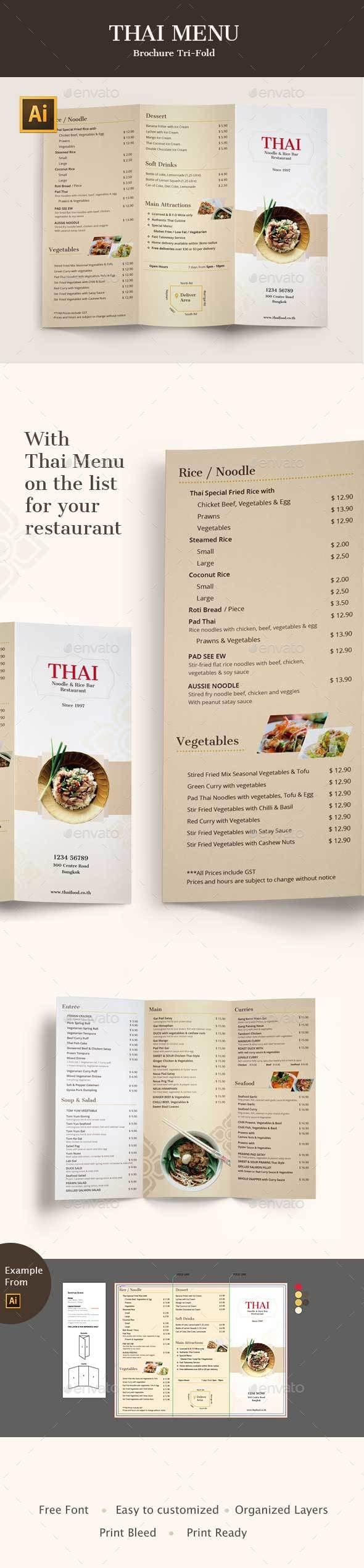 Thai Menu Tri-fold Brochures - Food Menus Print Templates