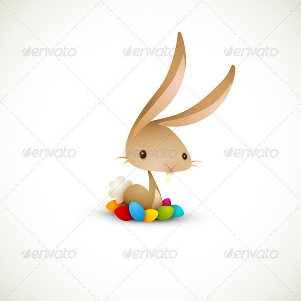 Easter Bunny with Colored Eggs - Animals Characters