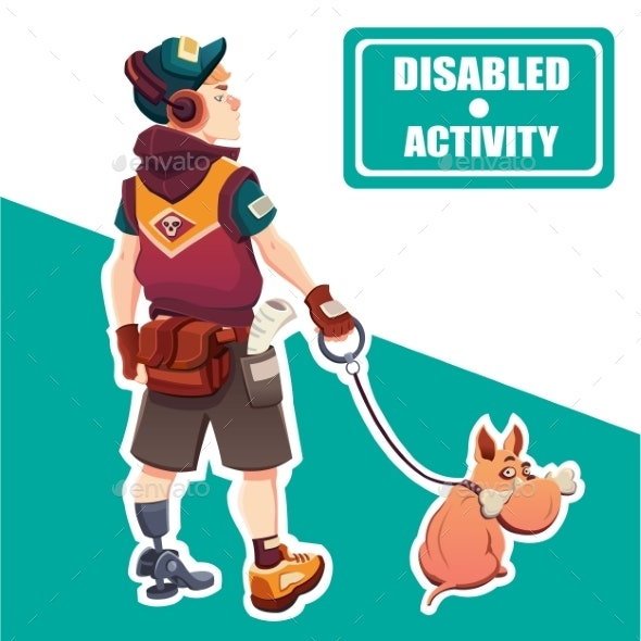 Boy with Disabled Activity. A Boy and His Dog.  - People Characters