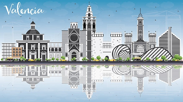 Valencia Skyline with Gray Buildings, Blue Sky and Reflections. - Buildings Objects