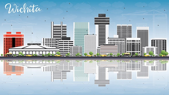 Wichita Skyline with Gray Buildings, Blue Sky and Reflections. - Buildings Objects