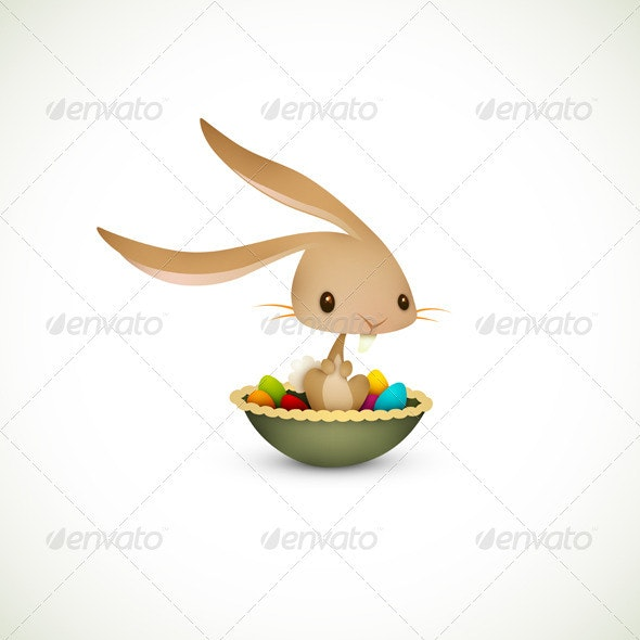 Easter Bunny Sitting in Bowl full of Colored Eggs - Seasons/Holidays Conceptual
