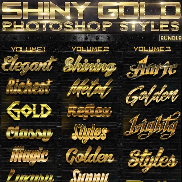 Shiny Gold Photoshop Styles [BUNDLE]