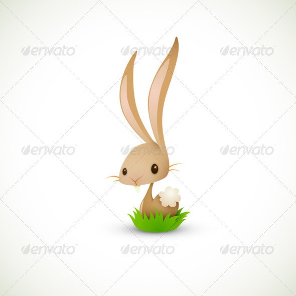 Easter Bunny Sitting in Grass - Animals Characters