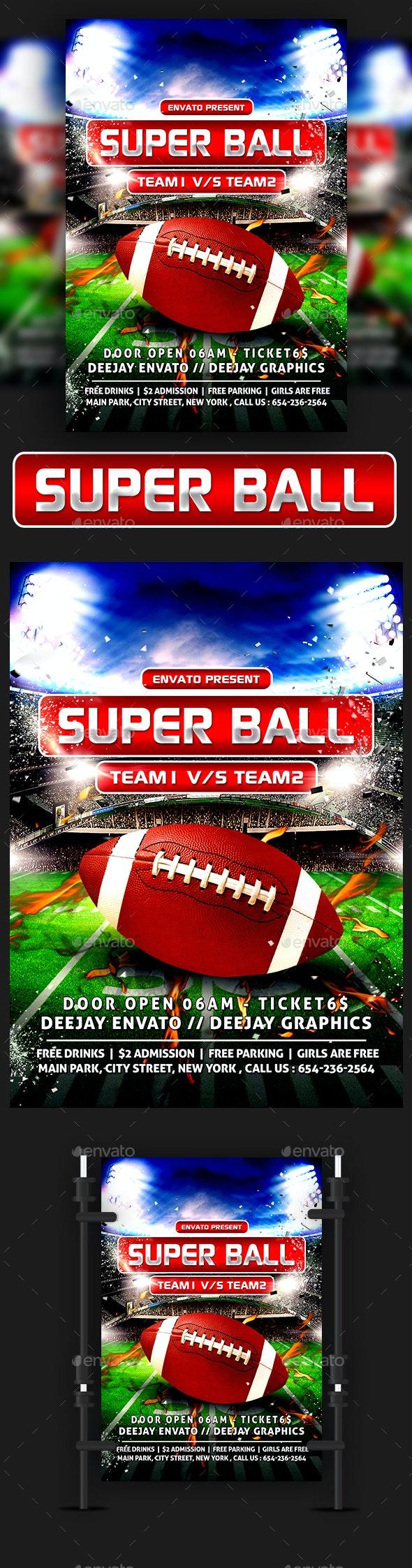 American Football Super Ball Flyer - Sports Events