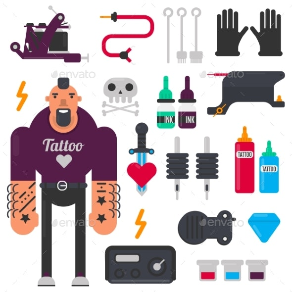 Tattoo Master and Tattooing Tools Vector Icons Set - Tattoos Vectors