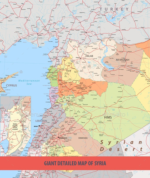 Giant Detailed Map of Syria - Travel Conceptual