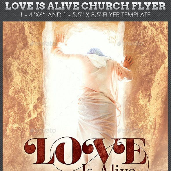 Love Is Alive Church Flyer Plus Poster Template