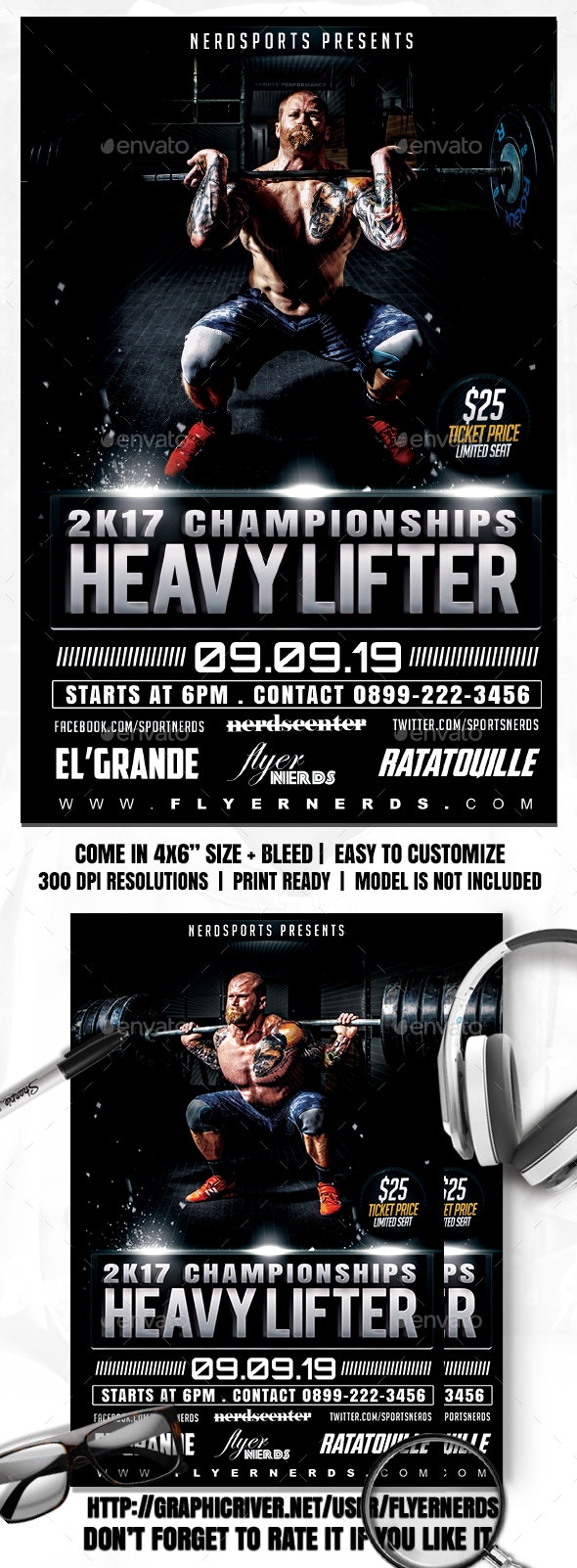 Body Builder Sports Flyer - Sports Events