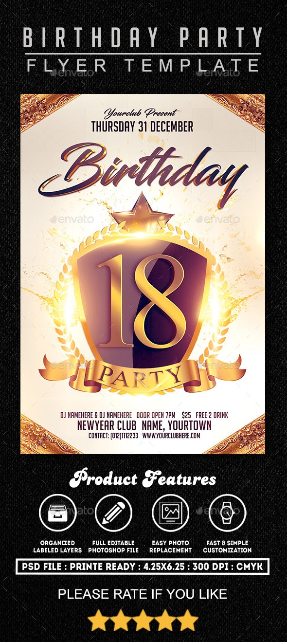 Birthday Part 2 Flyer Template - Clubs & Parties Events