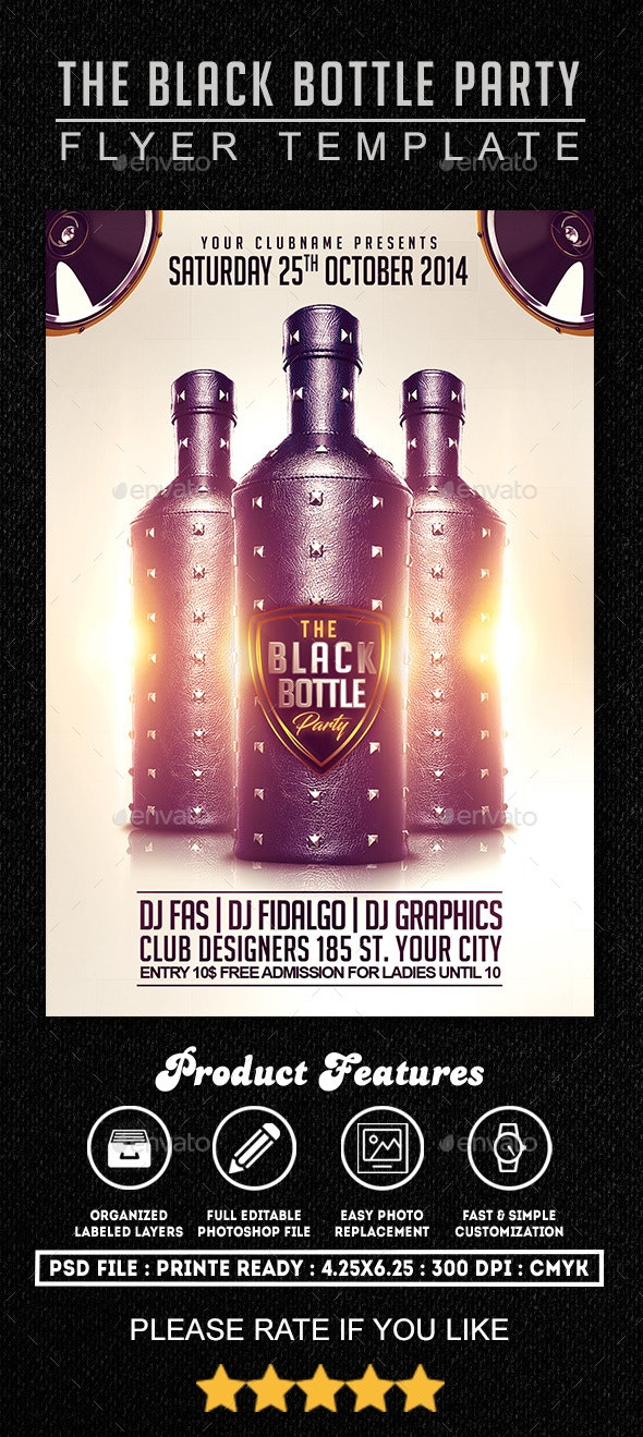 Black Bottle Party Flyer Template - Clubs & Parties Events