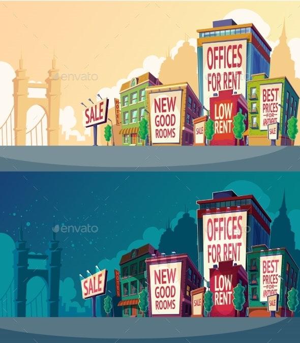 Set Vector Cartoon Illustration of an Urban - Buildings Objects