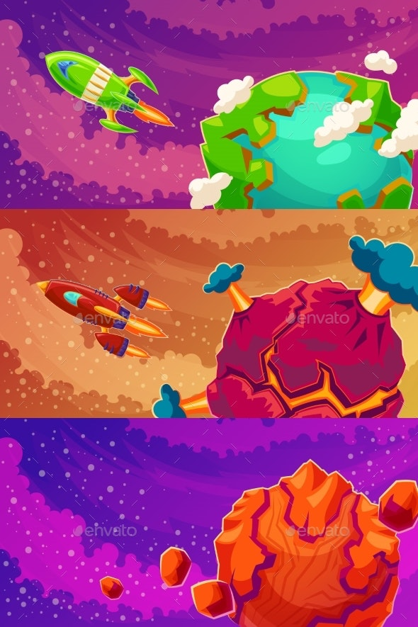 Set of Vector Horizontal Banners with Cartoon - Travel Conceptual