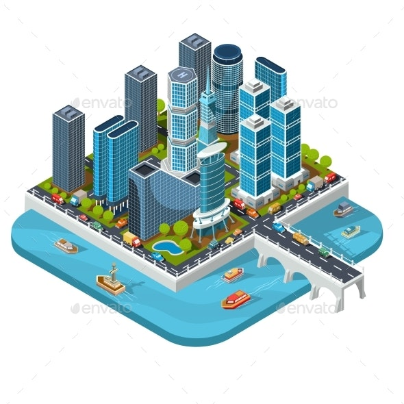 Vector Isometric 3D Illustrations of Modern Urban - Buildings Objects