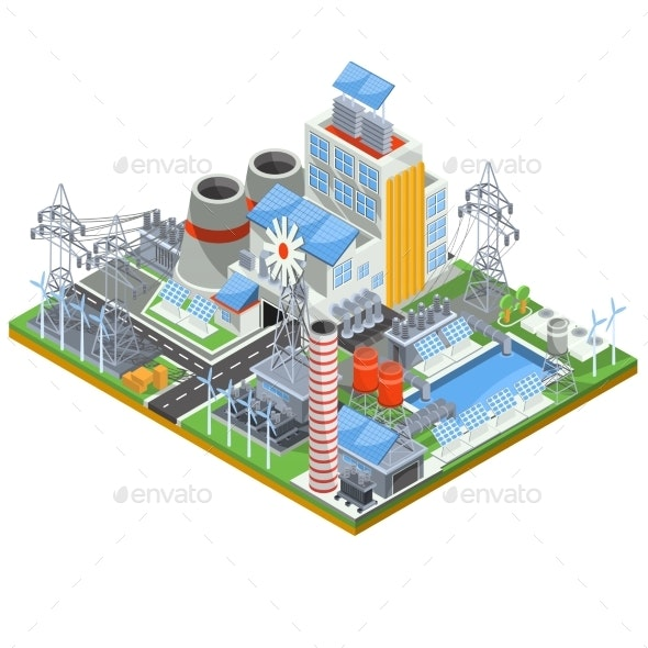 Isometric Vector Illustration of a Thermal Thermal - Buildings Objects
