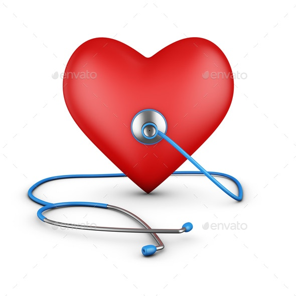 Stethoscope and Heart - Characters 3D Renders