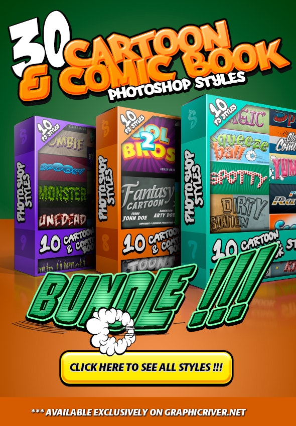 Cartoon and Comic Book Styles Bundle 3 - Text Effects Styles