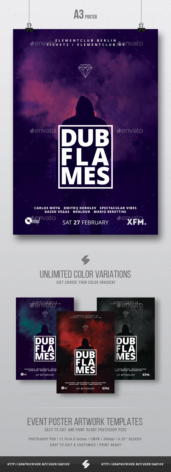 Dub Flames - Dubstep Party Flyer / Poster Template A3 - Clubs & Parties Events