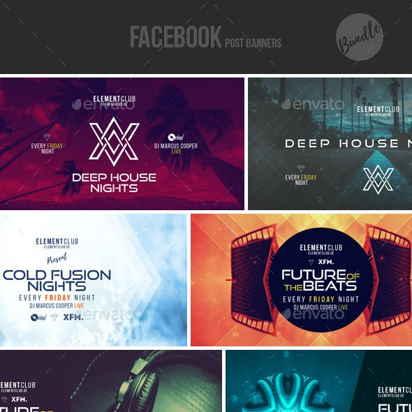Electronic Music Event Facebook Post Banner Templates Bundle 3