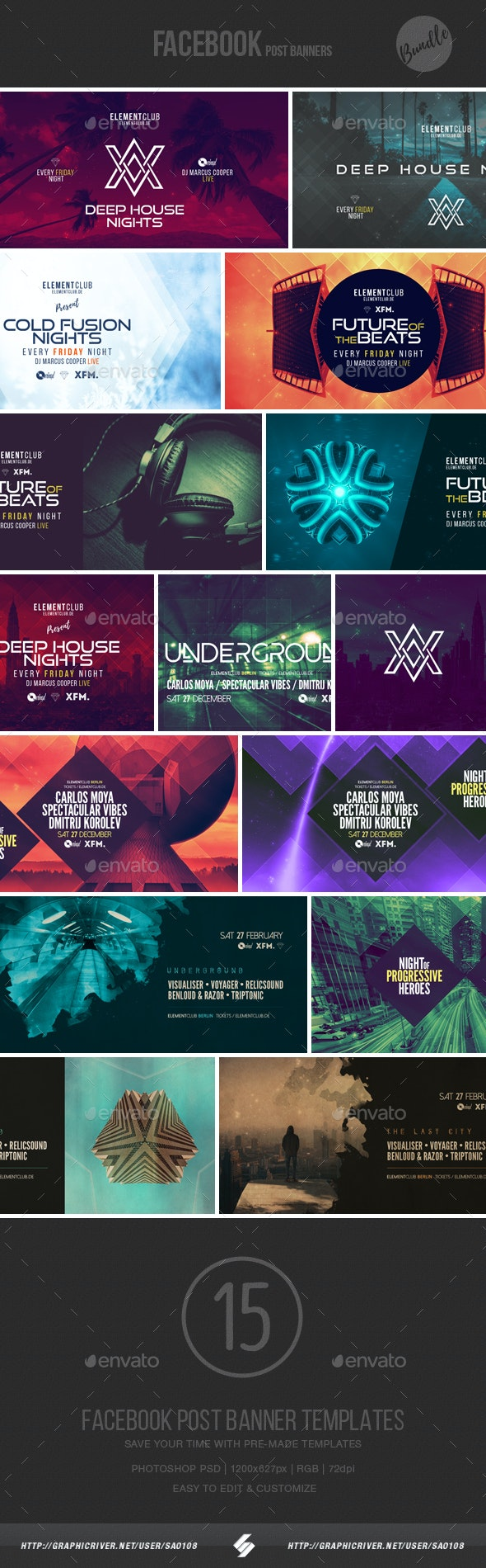 Electronic Music Event Facebook Post Banner Templates Bundle 3 - Social Media Web Elements