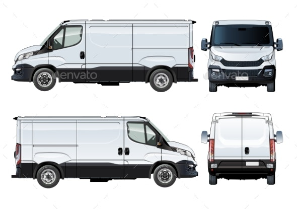 Vector Van Template Isolated on White - Man-made Objects Objects