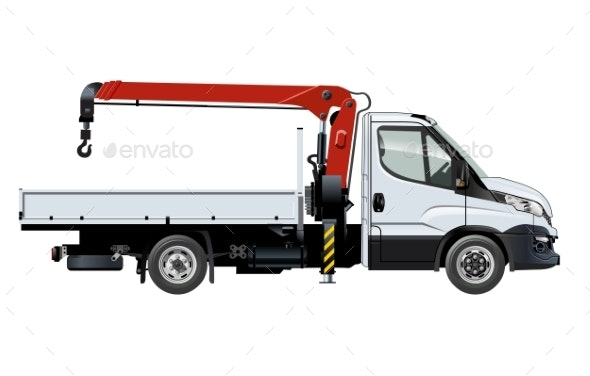 Vector Crane Template Isolated on White - Man-made Objects Objects