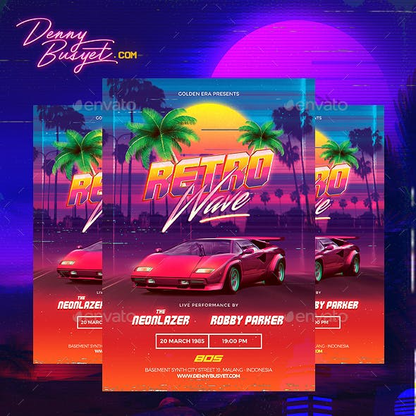 Retrowave and Synthwave Graphics, Designs & Templates