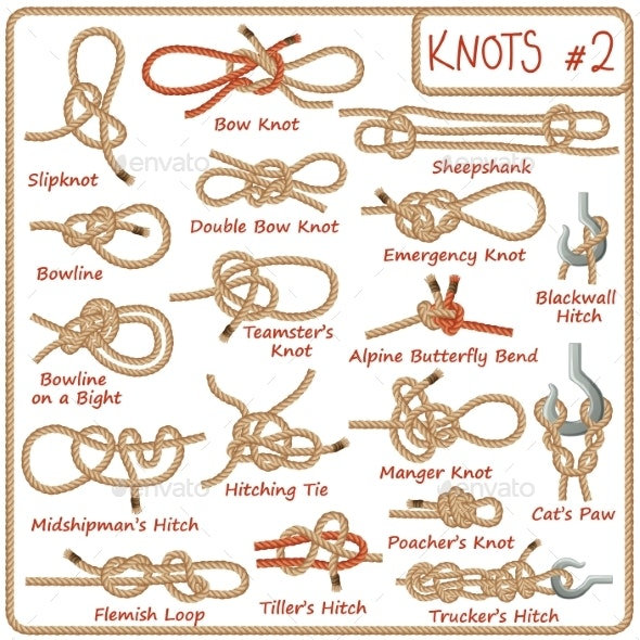 Set of Rope Knots, Hitches, Bows and Bends - Miscellaneous Vectors