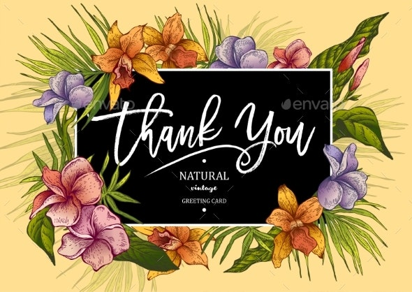 The Vintage Tropical Greeting Card with Plants - Flowers & Plants Nature