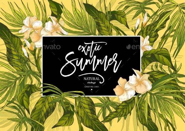 Summer Leaves Vintage Exotic Greeting Card - Flowers & Plants Nature