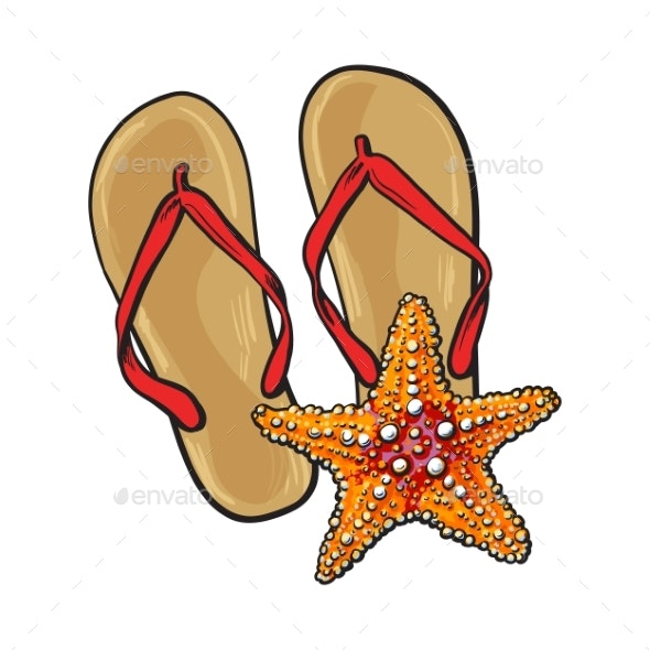 Pair of Flip Flops and Starfish - Travel Conceptual