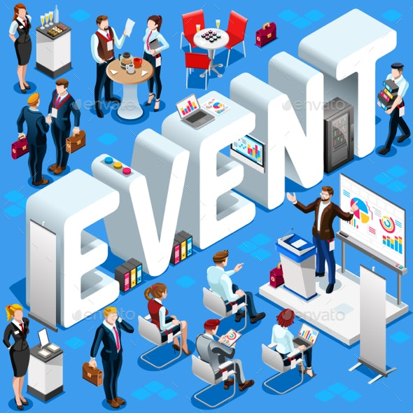 Event Isometric People Icon 3D Set Vector Illustration - Miscellaneous Vectors