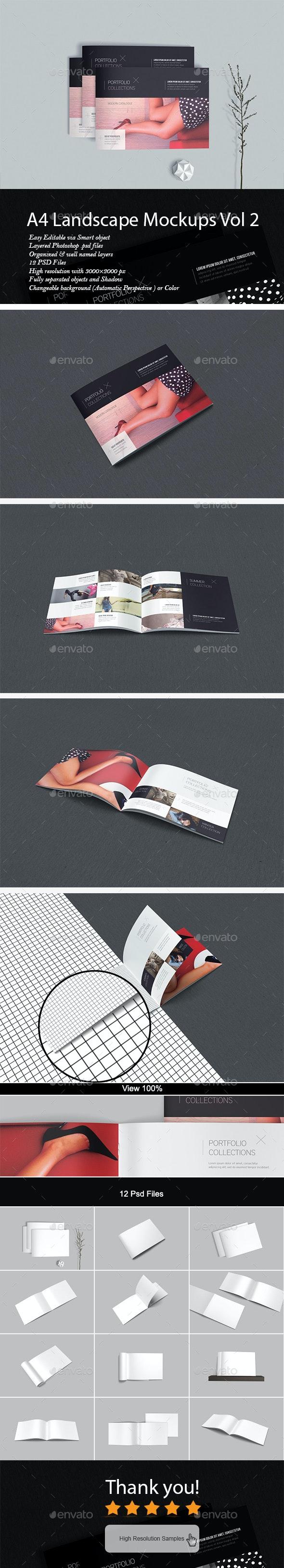 A4 Landscape Mockup Vol2 - Brochures Print