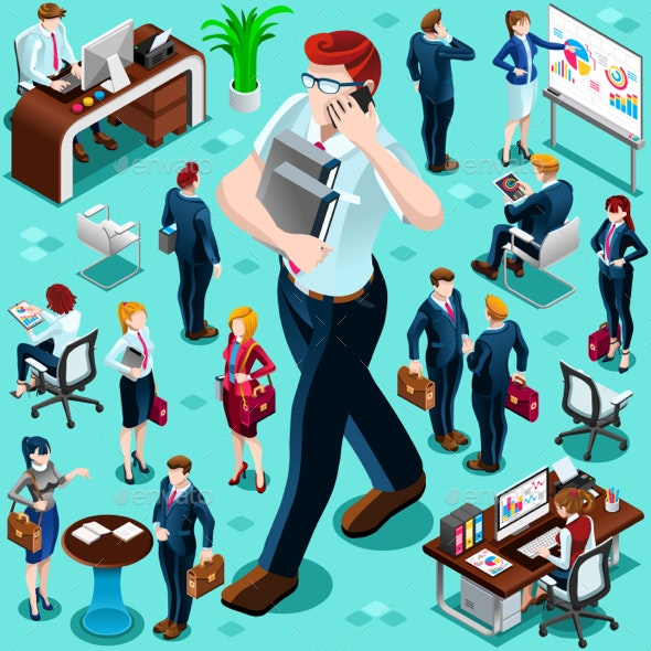 Isometric Business People Isolated Icon Set Vector Illustration - People Characters