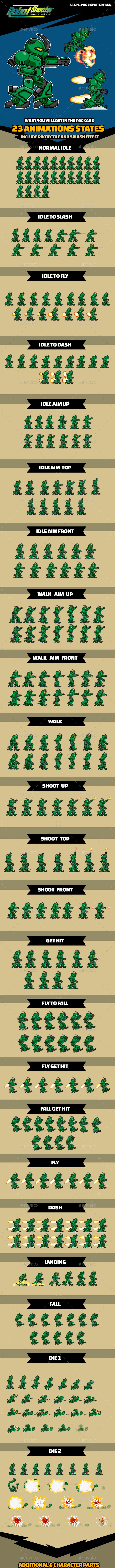 X Robot Shooter - Sprites Game Assets