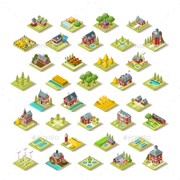 Isometric City Map Farm Building Icon Set Vector Illustration - Buildings Objects