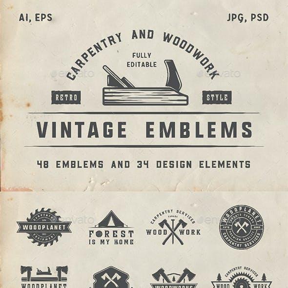 48 Vintage Carpentry Emblems