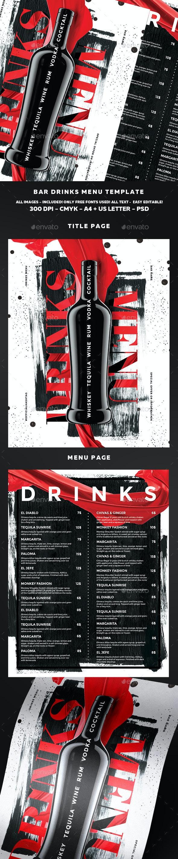 Drinks Menu Template - Food Menus Print Templates