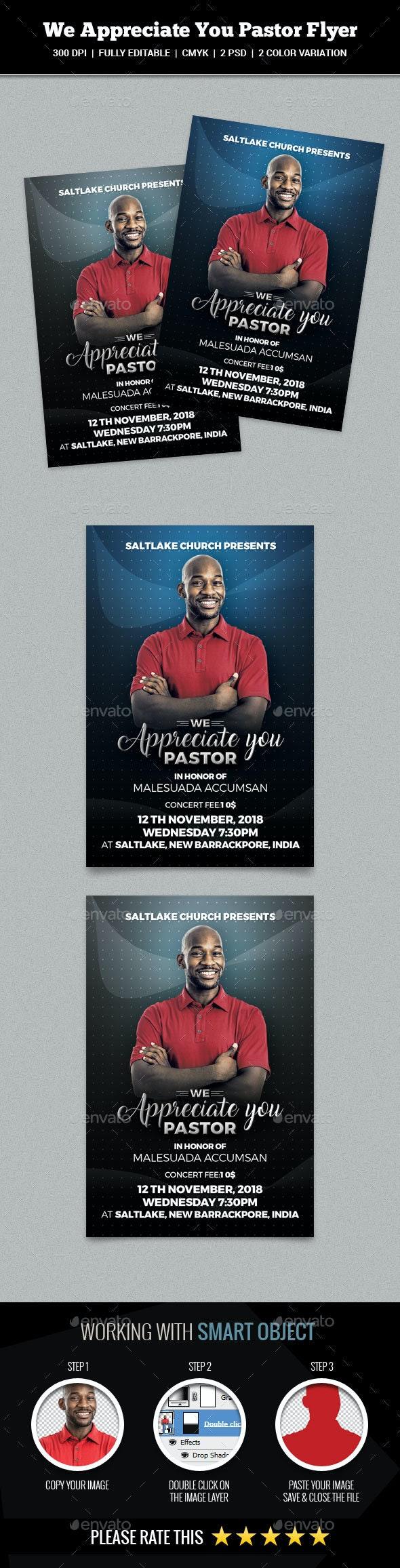 We Appreciate You Pastor Flyer - Church Flyers
