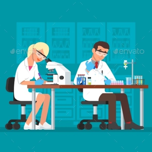 Vector Illustration of Scientists Working