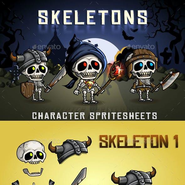 Skeletons 2D Game Character Sprite Sheet