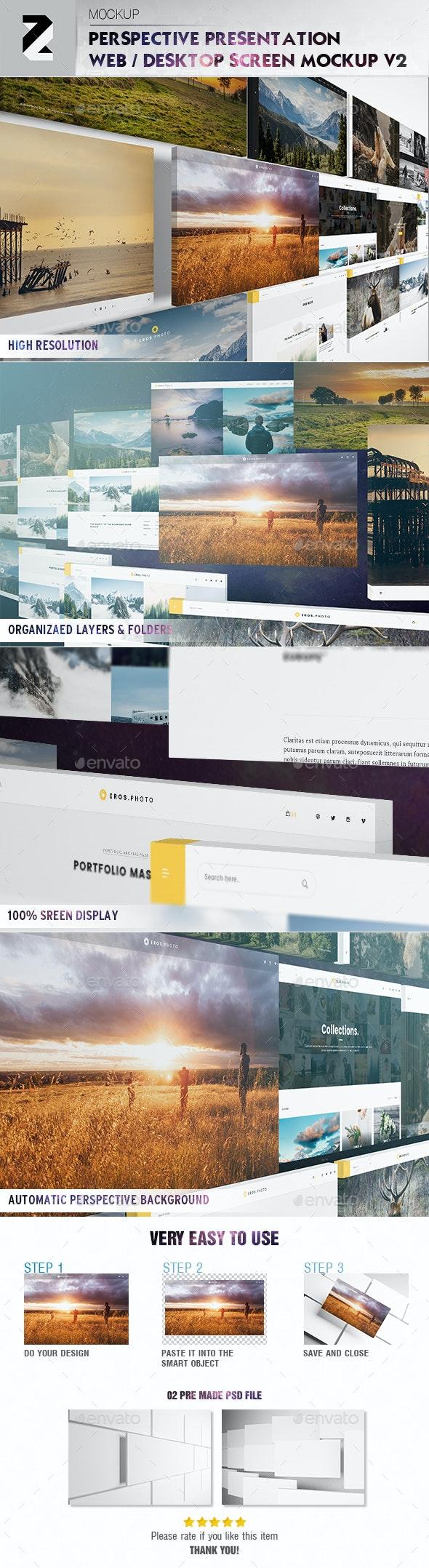 Perspective Presentation Web Mockup v2 - Website Displays
