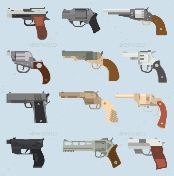 Weapons Vector Handguns Collection - Man-made Objects Objects