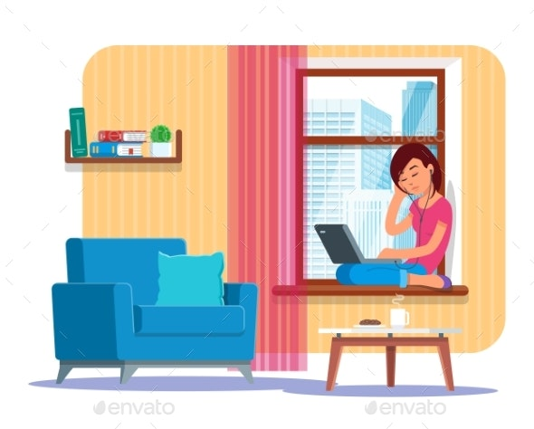 Vector Illustration of Young Woman Working - Concepts Business